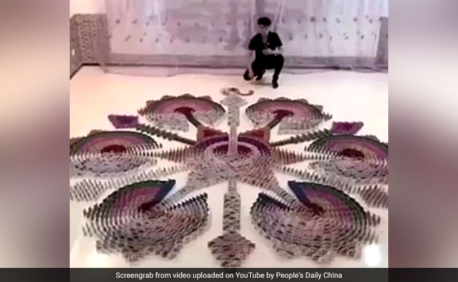 Watch: Artist Creates Stunning Domino Effect With Playing Cards