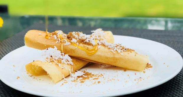 Palm Jaggery Crepes with fresh Coconut and Date syrup