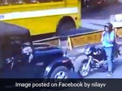 रॉन्ग साइड से आ रही जीप के सामने डटा रहा निडर बाइक सवार, वीडियो हुआ वायरल