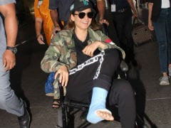Injured Kangana Ranaut Lands In Mumbai With Foot In A Cast And Big Smile