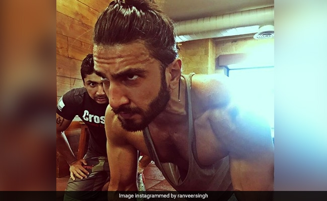 ranveer working out at the gym