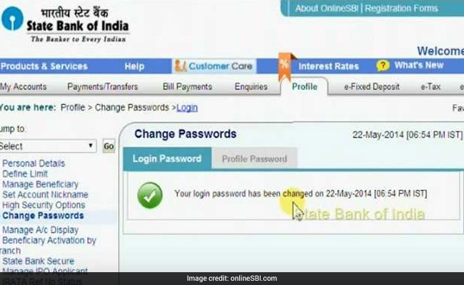 how to change password in online sbi account