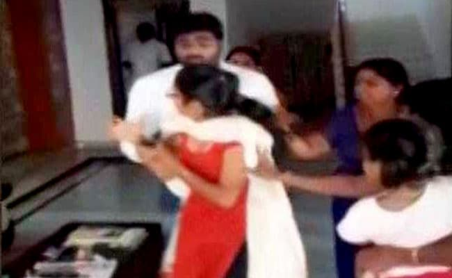 Telangana Youth Leader Beats Up Wife, Caught On Camera