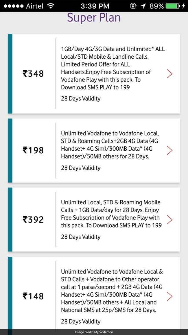 vodafone prepaid recharge plans rs 148 plan vs rs 348. Black Bedroom Furniture Sets. Home Design Ideas