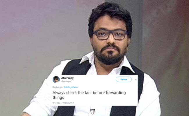 'April Fooled In December' Babul Supriyo Falls For WhatsApp Forward