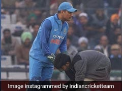 On Rohit Sharma's Big Day, Fan Enters Field To Touch MS Dhoni's Feet