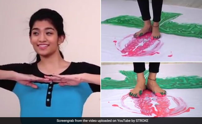 Hyderabad Girl Makes World's Largest Painting By Feet