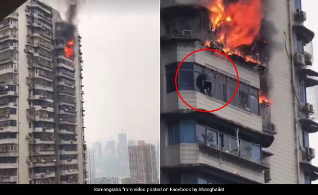 Man Hangs From 23-Storey Building To Escape Fire. Caught On Camera