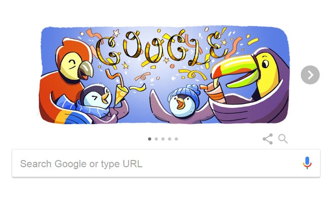 google doodle celebrates new years eve 2017 with penguins and parrots