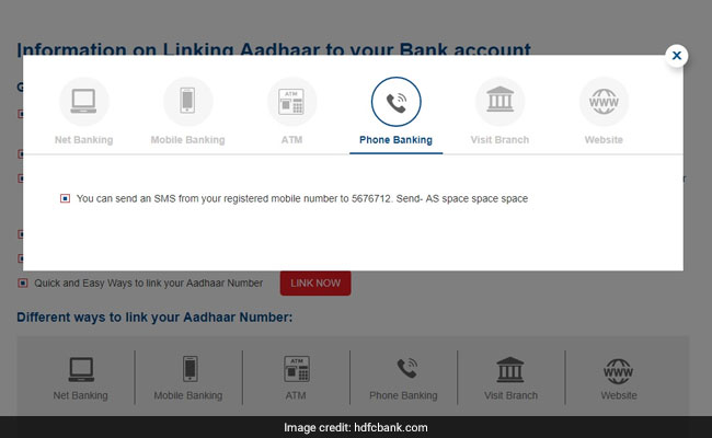 how to link aadhaar via sms hdfc bank site