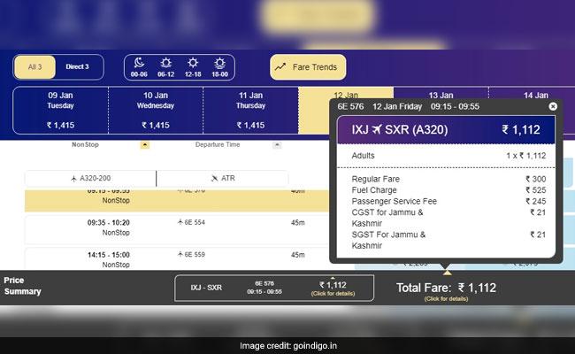 indigo fares airline website