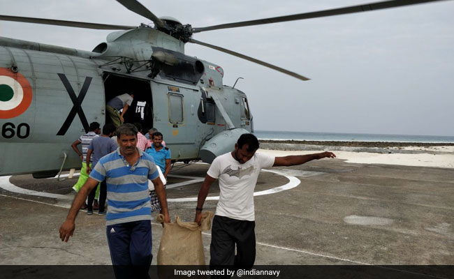 Navy Dispatches Relief To Ockhi Cyclone-Hit Lakshadweep