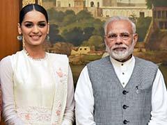 Miss World Manushi Chhillar Meets Narendra Modi