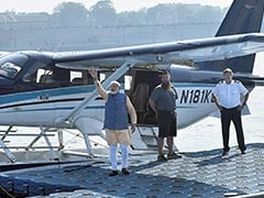 PM Modi Flies On Seaplane In Gujarat,