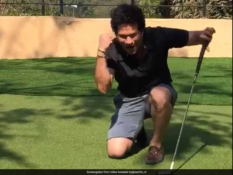 Sachin Tendulkar Produces Brilliant Celebration After A Successful Putt