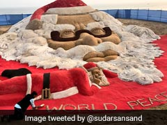 सैंड आर्टिस्ट सुदर्शन पटनायक का सांता की सबसे बड़ी रेत की कलाकृति बनाने का दावा....