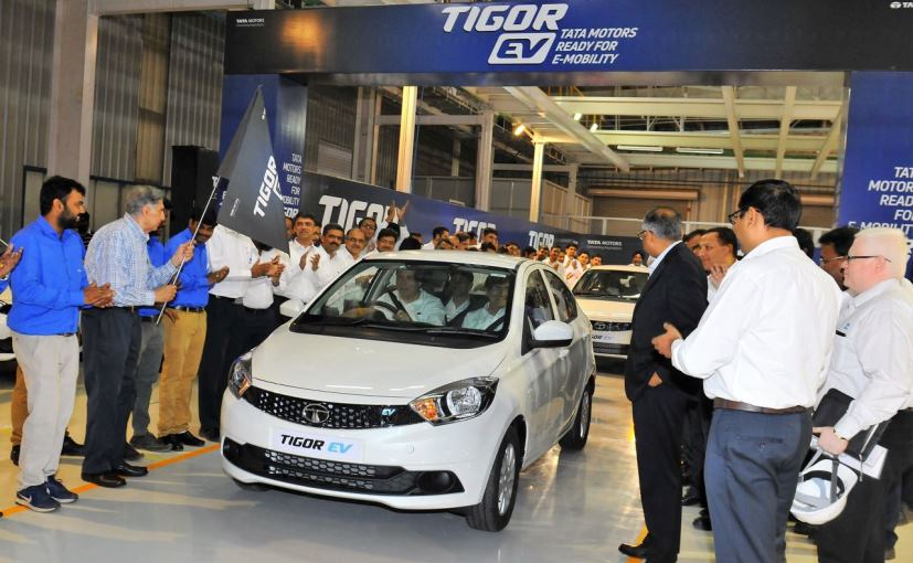 First batch of tata tigor electric vehicles roll out from for Tata motors electric car