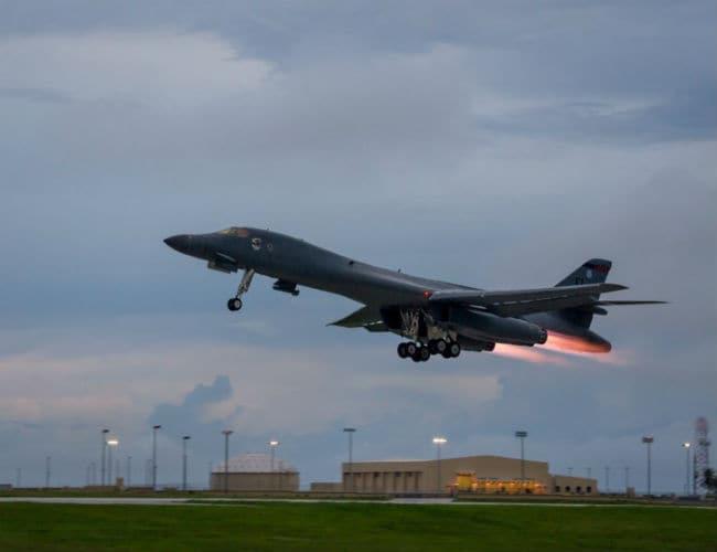 US B-1B Bomber Flies Over Korean Peninsula During Military Drills