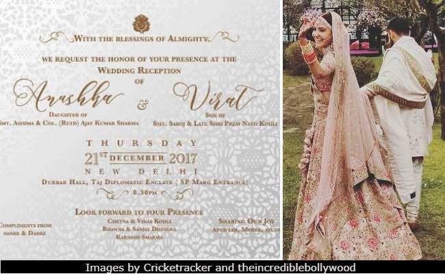 Hka Sharma And Virat Kohli S Reception Invite Is As Dreamy The Wedding