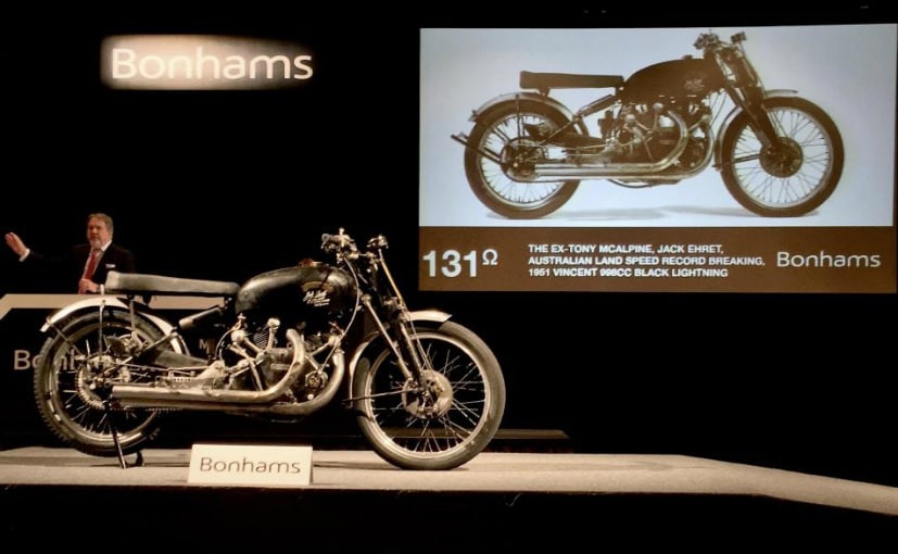 The largely unrestored 1951 Vincent Black Lightning fetched nearly Rs. 6 crore at auction