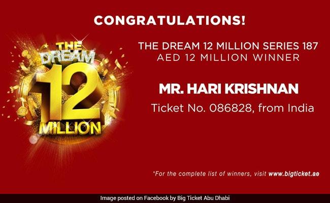 Indian Man Wins Dirham 21 Million In UAE Draw