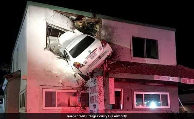 Car Flies Into Air, Gets Stuck In Dentist's Office On Second Floor