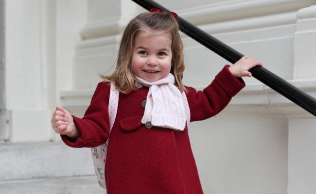 Princess Charlotte on the steps of Kensington Palace