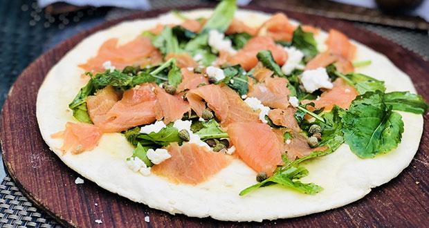 Smoked salmon and four cheese Focaccia