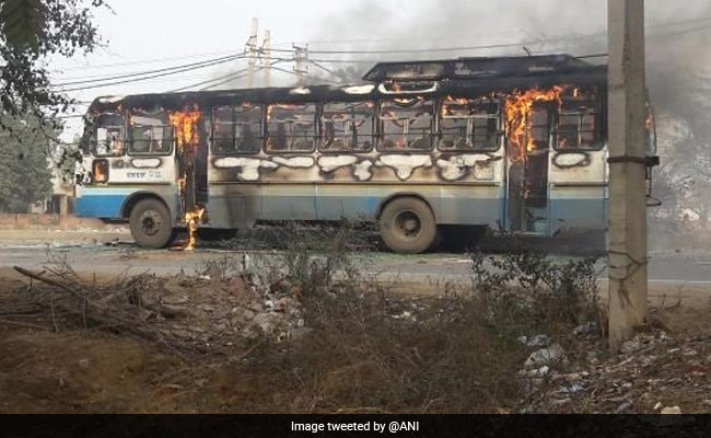 'Padmaavat' Protests: Haryana Roadways Bus Torched In Gurgaon