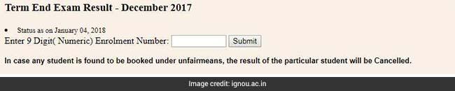 ignou december 2017 exam result