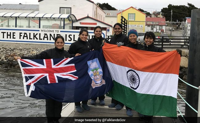 Navy's All-Women Crew Sailboat INSV Tarini Docks In Falkland Islands