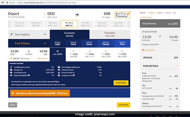 jet airways flight offer