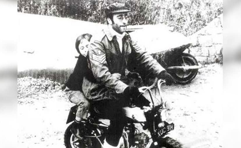 john lennon on his honda monkey bike