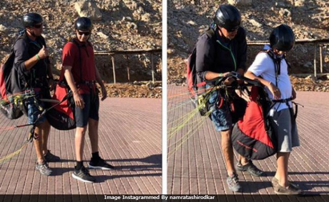 Mahesh Babu And Son Gautam Go Paragliding. Pic Shared By Wife Namrata Shirodkar