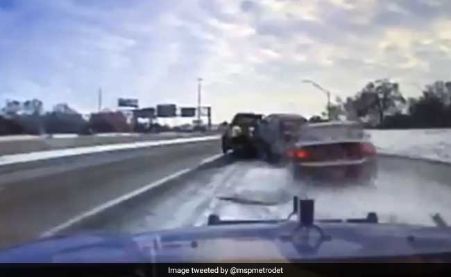 Video: Tow Driver Escapes Death As Car Skids, Lands On Top Of His Truck