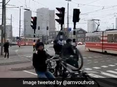 In Stormy Netherlands, Cyclist Blown Away By Gust Of Wind. Watch