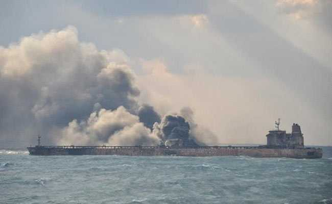 Burning Iranian Oil Tanker Partially Explodes In East China Sea