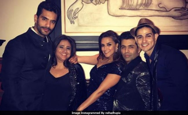 Bigg Boss 11's Priyank Sharma Poses With Karan Johar And Neha Dhupia At Shah Rukh Khan's Party