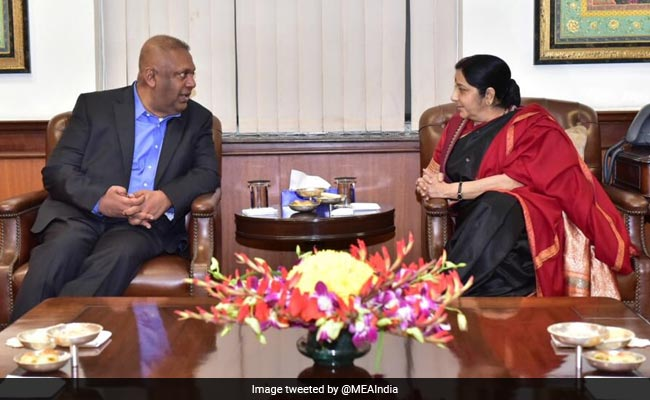 Sushma Swaraj Meets Sri Lankan Finance Minister