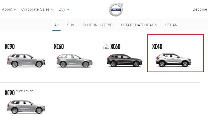 volvo xc40 listed on india website