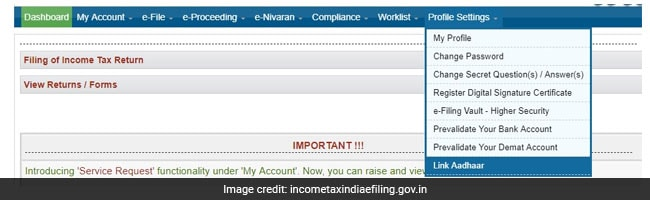aadhaar linking income tax website