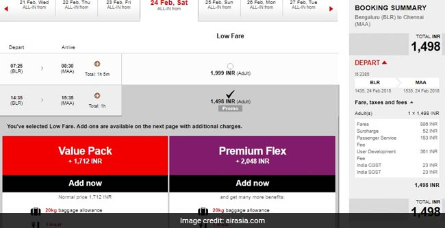 airasia rs 1498 airline website