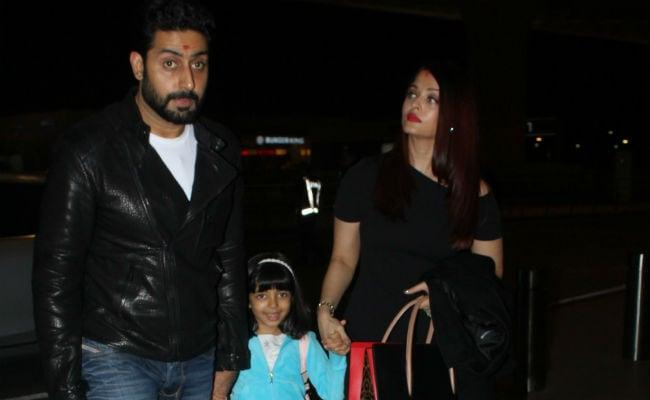 Pics: Aishwarya, Aaradhya And Abhishek Bachchan Fly Out On Family Holiday