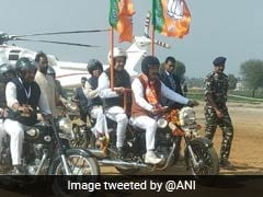 Amit Shah, On Bike, Leads BJP's Mega Rally In Haryana's Jind