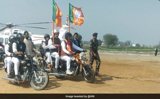Amit Shah, On Bike, Leads BJP's Mega Rally In Haryana's Jind