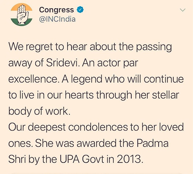 congress sridevi tweet
