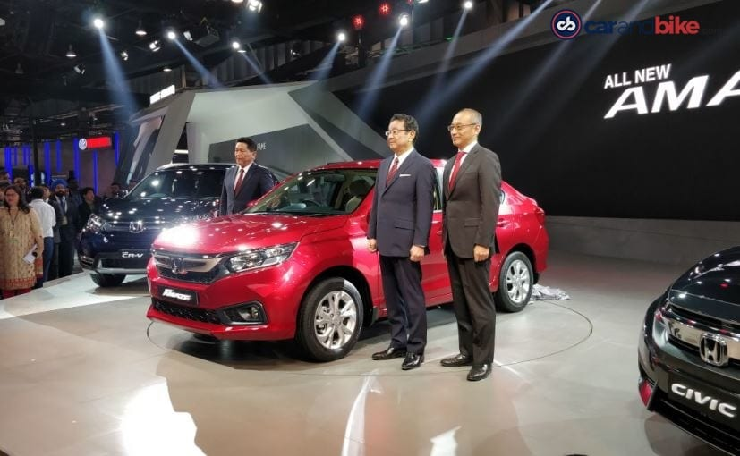 The Honda Amaze, shown at Auto Expo 2018 will contend with the Maruti Suzuki Dzire, Ford Aspire