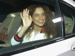 Akshay Kumar's <i>PadMan</i>: Kangana Ranaut Arrives For Screening With A Big Smile