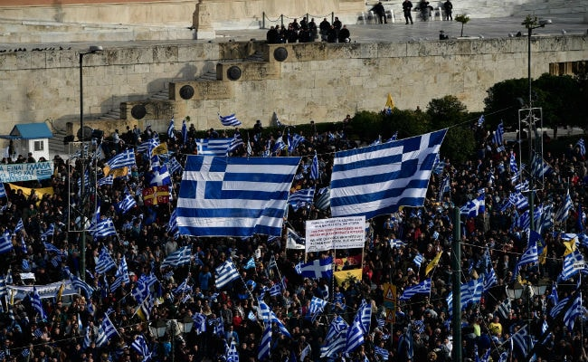 Tens Of Thousands Of Greeks Protest Over Macedonia Name Row
