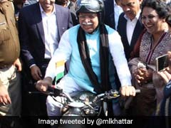 Haryana Chief Minister Rides Bike To Review Preps For Amit Shah's Rally